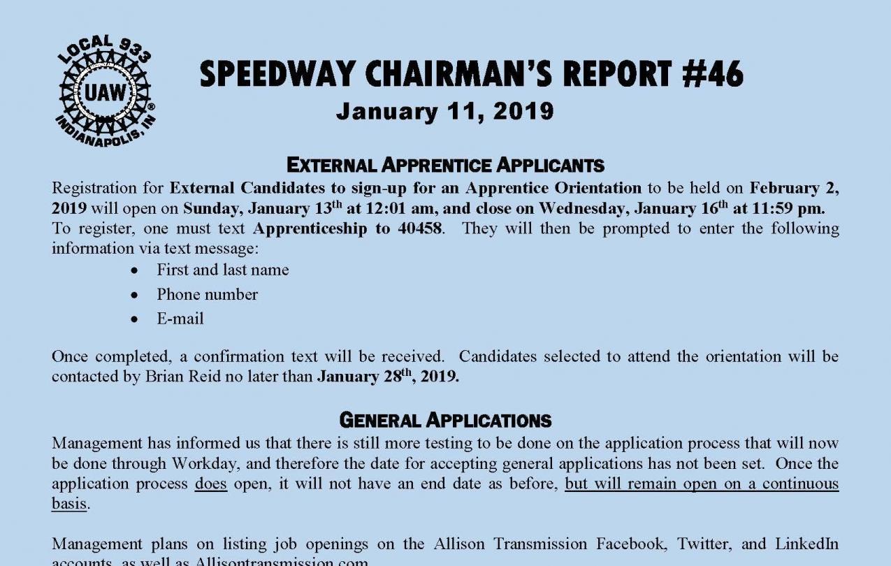 Chairman's Updates   UAW Local 933
