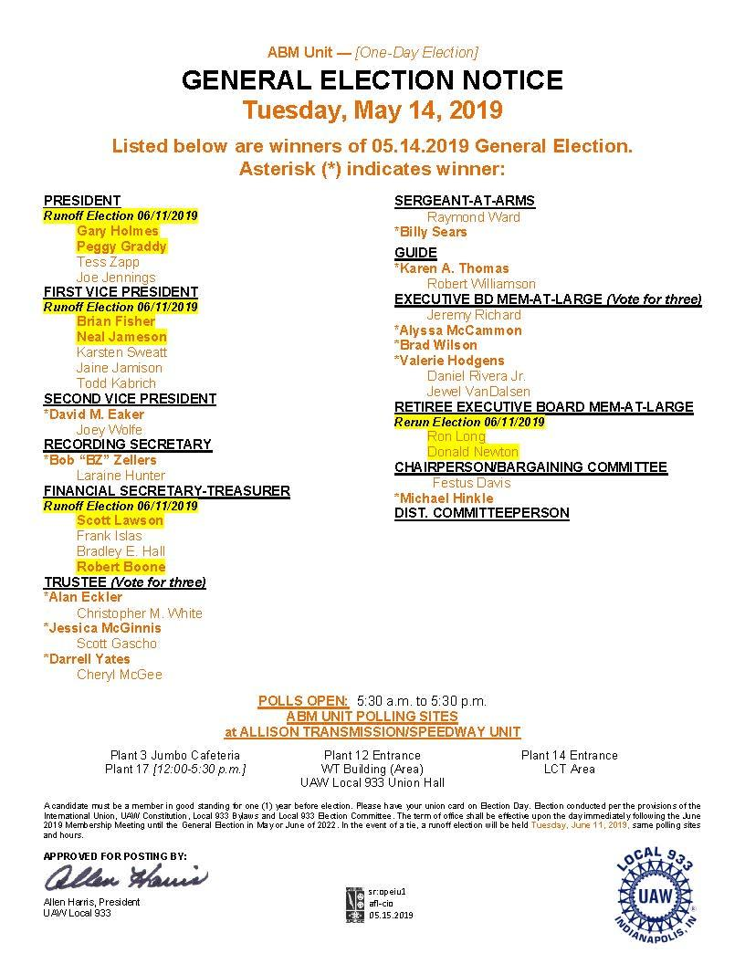 General Election Results for All Units | UAW Local 933