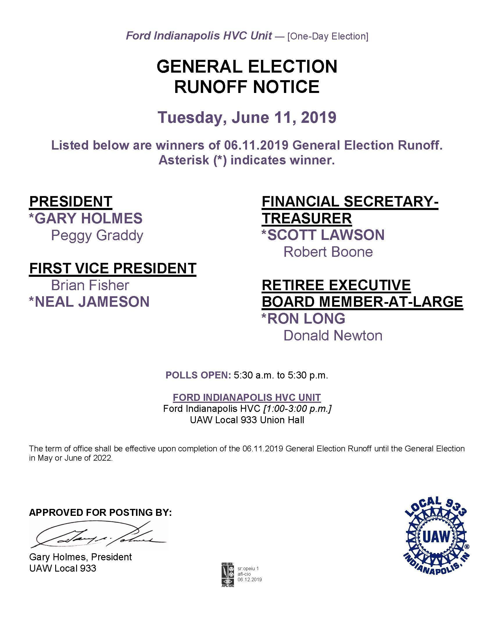 General Election Runoff Results 06/11/2019 | UAW Local 933
